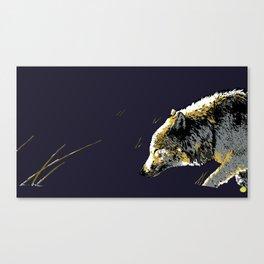 Art print: The wolf walking in the snow, dark version Canvas Print