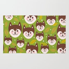 seamless pattern funny brown husky dog and leaves, Kawaii face with large eyes and pink cheeks Rug
