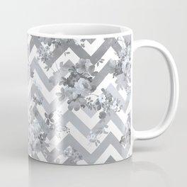 Vintage chic elegant blue gray white geometrical floral pattern Coffee Mug