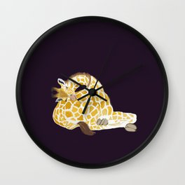 Giraffe sleeping on its own bottom Wall Clock