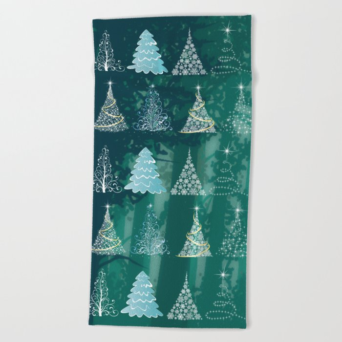 Christmas tree in the forest Beach Towel