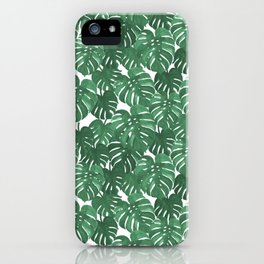 Monstera house plant leaf green painting pattern trendy hipster indoor house plant tropical garden   iPhone Case