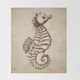 """Fantasy Seahorse"" by Amber Marine ~ (Vintage) ~ Ink Illustration, (Copyright 2016) Throw Blanket"