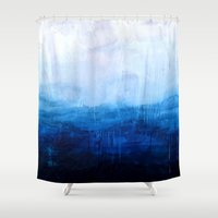 ombre Shower Curtains featuring All good things are wild and free - Ocean Ombre Painting by Prelude Posters