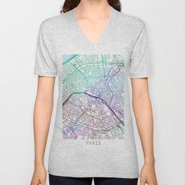 Paris Map Watercolor Blue by Zouzounio Art Unisex V-Neck