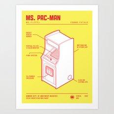 ARCADE CAB - MS. PAC-MAN Art Print