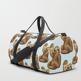 sloth eating pizza pattern Duffle Bag