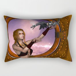Wonderful steampunk lady with steam dragon Rectangular Pillow