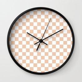 Small Checkered - White and Desert Sand Orange Wall Clock