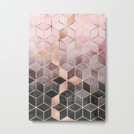 Pink And Grey Gradient Cubes Metal Print