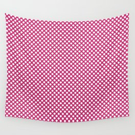 Pink Yarrow and White Polka Dots Wall Tapestry