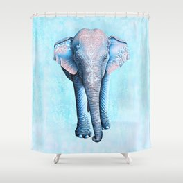 Painted Asian Elephant Shower Curtain