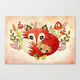 Fox Mom & Pup Canvas Print