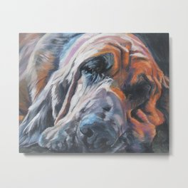 Bloodhound dog portrait Fine Art Dog Painting by L.A.Shepard Metal Print