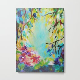 BLISS - Stunning Bold Colorful Idyllic Dream Floral Nature Landscape Secret Garden Acrylic Painting Metal Print