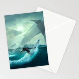 Surfing with sharks Stationery Cards