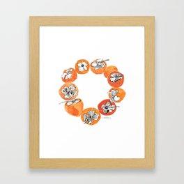 Persimmon Wreath Framed Art Print