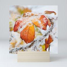 Rose bush frozen leaves Mini Art Print