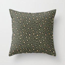Chic Gold Glitter Military Green Leopard Throw Pillow