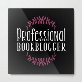Professional Bookblogger - Black w Purple Metal Print