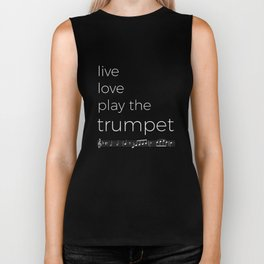 Live, love, play the trumpet (dark colors) Biker Tank