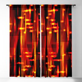 Luxurious red stripes and metallic orange triangles of fire create abstraction and glow. Blackout Curtain