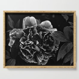 Black And White Flower Serving Tray