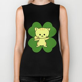 Cat On Four Leaf Clover - St. Patricks Day Funny Biker Tank