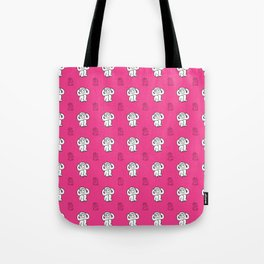 White monkeys on pink background Tote Bag