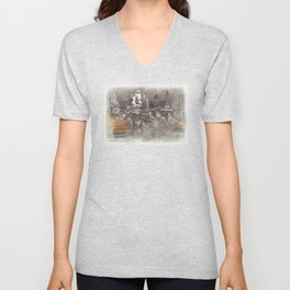 NYC Yellow Cabs Horse Car - SKETCH Unisex V-Neck