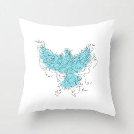 Bird Fly 3 - Aqua/Brown Throw Pillow