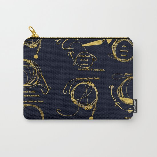 Maritime pattern- Gold fishing gear on darkblue backround Carry-All Pouch