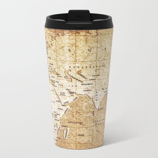 Vintage Map Pattern Metal Travel Mug