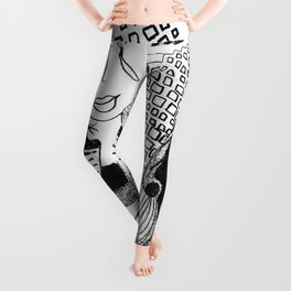 Emotional Black and White Drawing: 'The Fish' Leggings