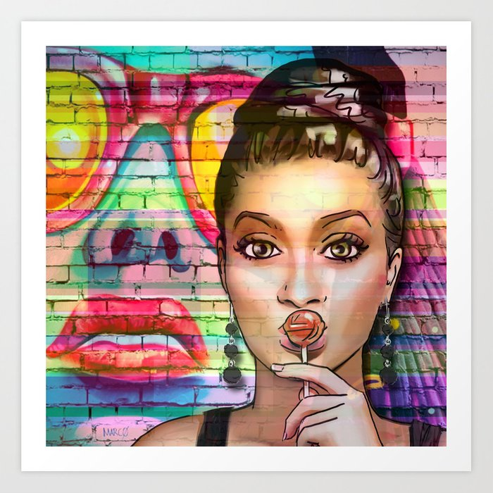 Retro Pinup Girl Lollipop Colorful Graffiti Wall Art Print by ...