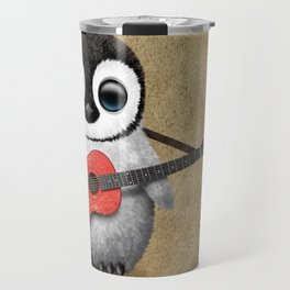 Baby Penguin Playing Portuguese Flag Acoustic Guitar Travel Mug
