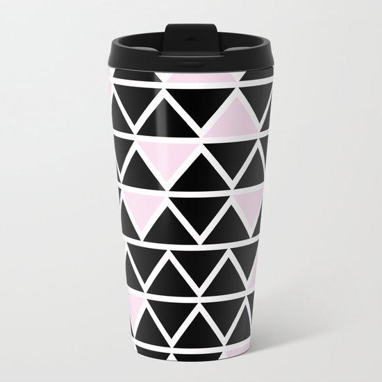 Abstract geometric triangle pattern- pink-black Metal Travel Mug