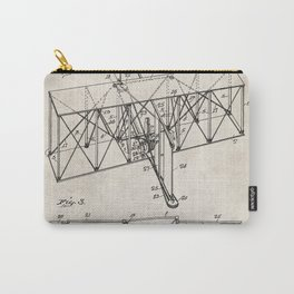 Wright Brother's Machine Patent - Airplane Art - Antique Carry-All Pouch