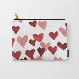Valentine's Day Watercolor Hearts - red Carry-All Pouch
