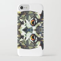 polygon iPhone & iPod Cases featuring Polygon Owl by Andrew Mason
