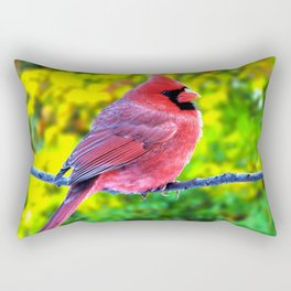 Fabulous Beautiful Cardinal Bird On Twig Close Up Ultra HD Rectangular Pillow