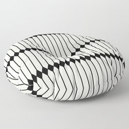 Minimal Geometric Pattern - Black Floor Pillow
