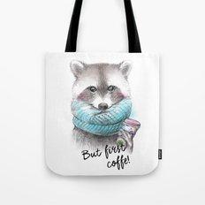 raccoon pencil and watercolor illustration Tote Bag