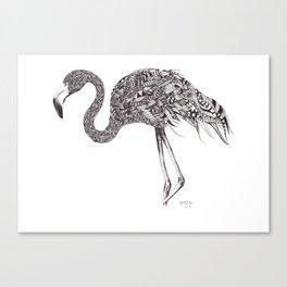 Zentangle Flamingo Canvas Print