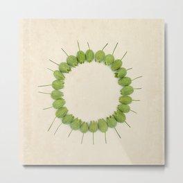 Green Wildflower Circle on Vintage Paper Metal Print