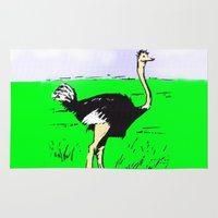 ostrich Area & Throw Rugs featuring Ostrich by wingnang