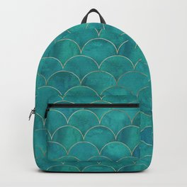 Turquoise Beautiful Art Magenta Deco Marble Shimmer Mermaid Scales Gold Trim Seamless Pattern Backpack