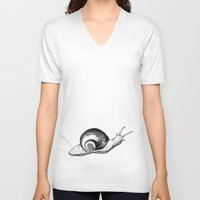 snail V-neck T-shirts featuring Snail by Aubree Eisenwinter