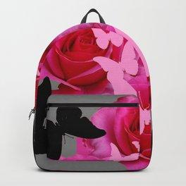 GREY & FUCHSIA PINK ROSES BLACK-PINK BUTTERFLIES Backpack