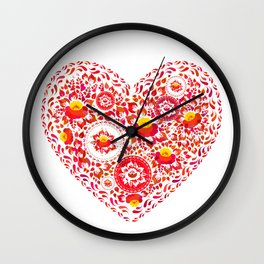 Valentine's Day card Heart made of red orange flowers on white background. Romantic invitation Wall Clock